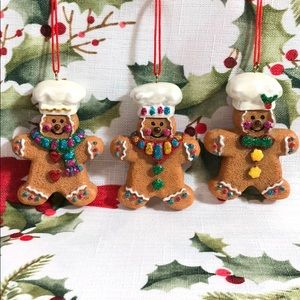 3 Gingerbread Boy Glittery Christmas Ornaments